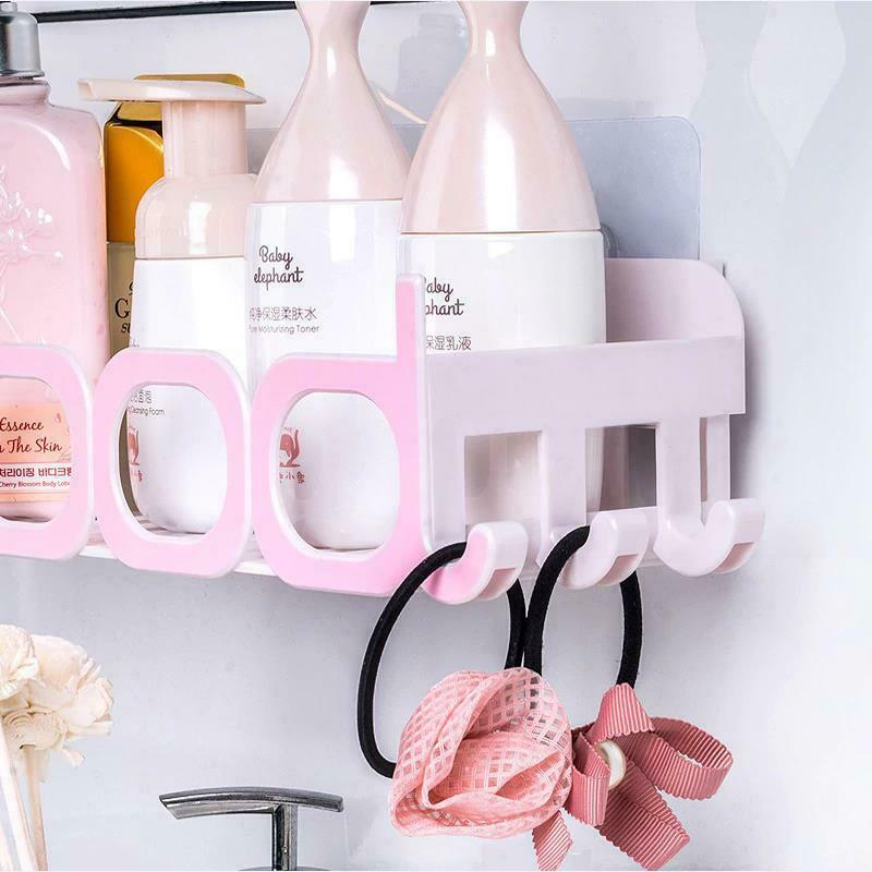 Corner Storage Wall Mounted Plastic Suction Bathroom Shelf Storage Basket Holder image 8