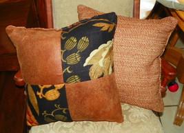 Pair of Brown Black Flower Print Patchwork Print Throw Pillows  18 x 18 - $49.95