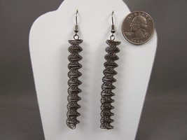 "Grey earrings spiral spring 3.5"" long dangle earrings Dark Pewter Gray - $7.42"