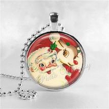 SANTA CLAUS Pendant Necklace, Retro Christmas Jewelry, Santa Claus, Kits... - $11.95
