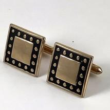 Vintage Swank Square Cufflinks Gold Black Toggle Back - $29.99