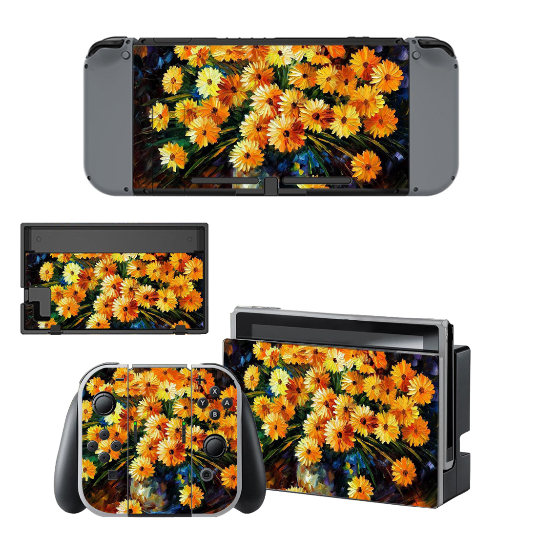 Flower paintaing decal for Nintendo switch console sticker skin