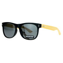 Polarized Lens Real Bamboo Temple Sunglasses Matted Horn Rim Frame - $11.83+
