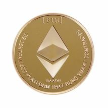 Gold Plated Commemorative Collectible Golden Iron ETH Ethereum Miner Coin - 1x image 3