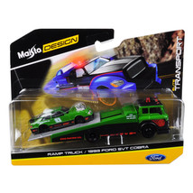 1993 Ford SVT Cobra #93 Green and Black with Ramp Tow Truck Elite Transp... - $33.14
