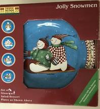 Debbie Mumm Sakura Jolly Snowmen Ceramic Salad Dessert Plates New in Box... - $20.20