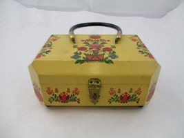 Vintage women Wooden Handpainted Flowers And Hearts Handbag purse - $34.99