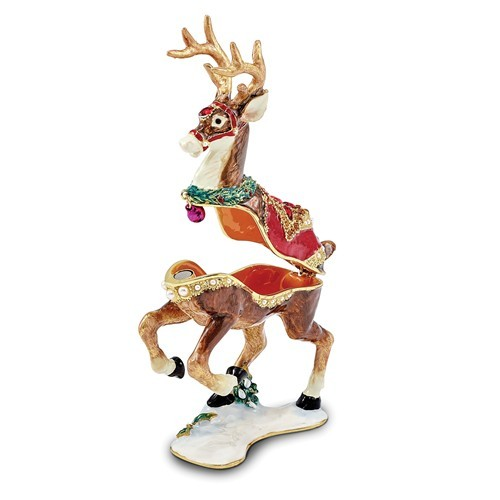 Bejeweled Christmas Reindeer Trinket Box