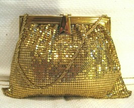 Vintage WHITING & DAVIS Art Deco Evening Bag Gold Mesh Flip Lock / Mirro... - $67.56