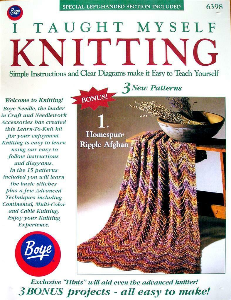 I Taught Myself Knitting by Boye Simple Instructions Clear Diagrams & Patterns - $7.55