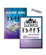 Weimaro Video Game Invitations, 20 Invitations + 20 Envelopes, Double Si... - $12.75