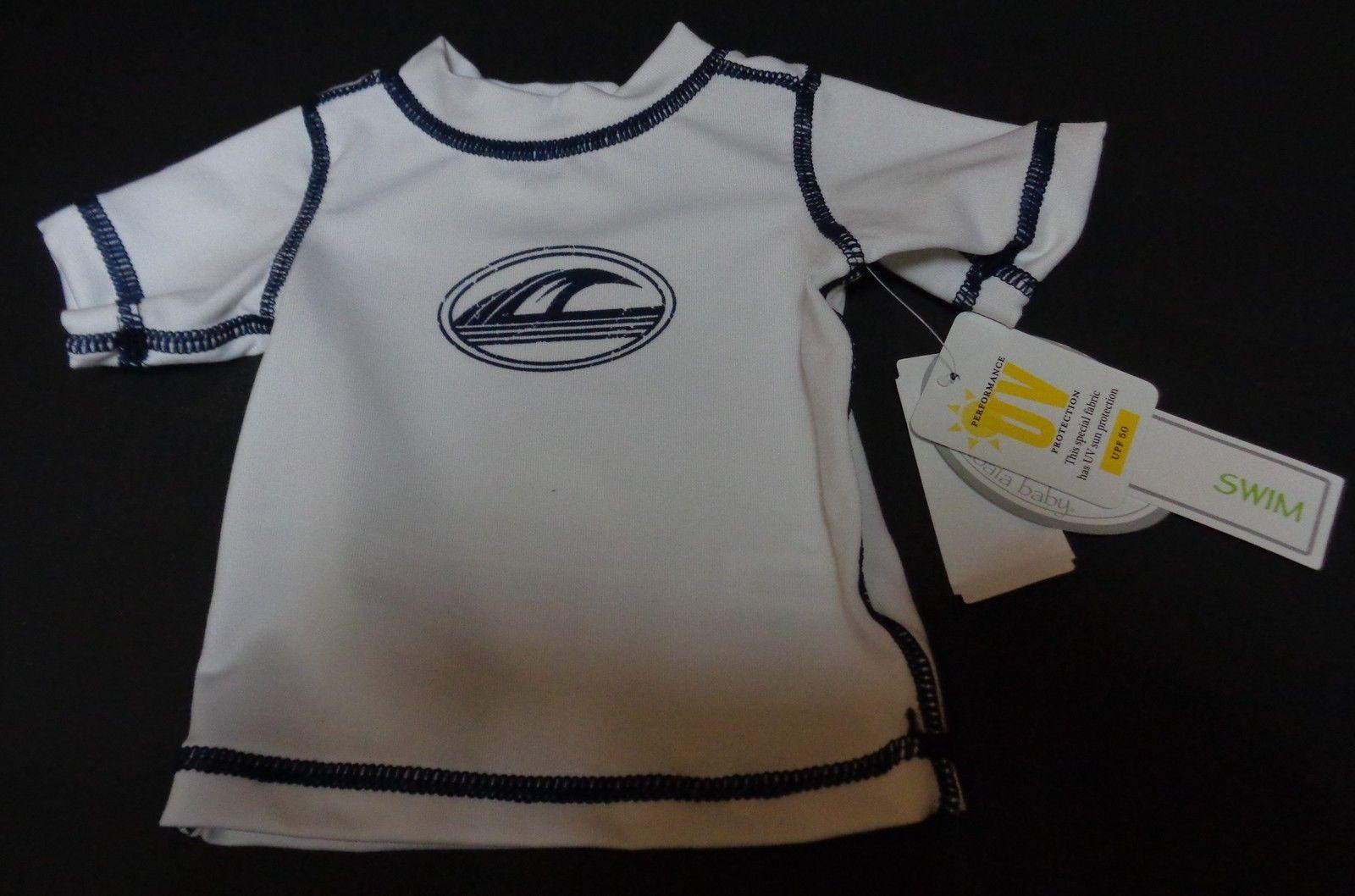Koala Baby Boys Newborn Swim Shirt NWT WAVES White Short Sleeves UV Protection