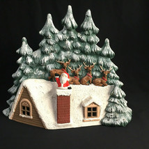 Vintage Santa Christmas Lighted Ceramic Roof Trees Reindeer Decor 1987 - $84.15