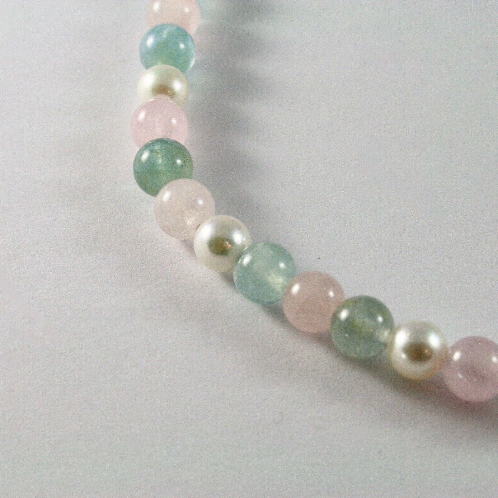 Halskette mit Aquamarin Mehrfarbig Perlen Akoya und Verschluss in Gold Weiß 18KT