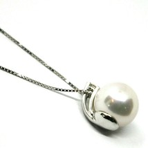 18K WHITE GOLD NECKLACE & PENDANT, SALTWATER AKOYA PEARL 8/8.5 MM, DIAMOND 0.07 image 2