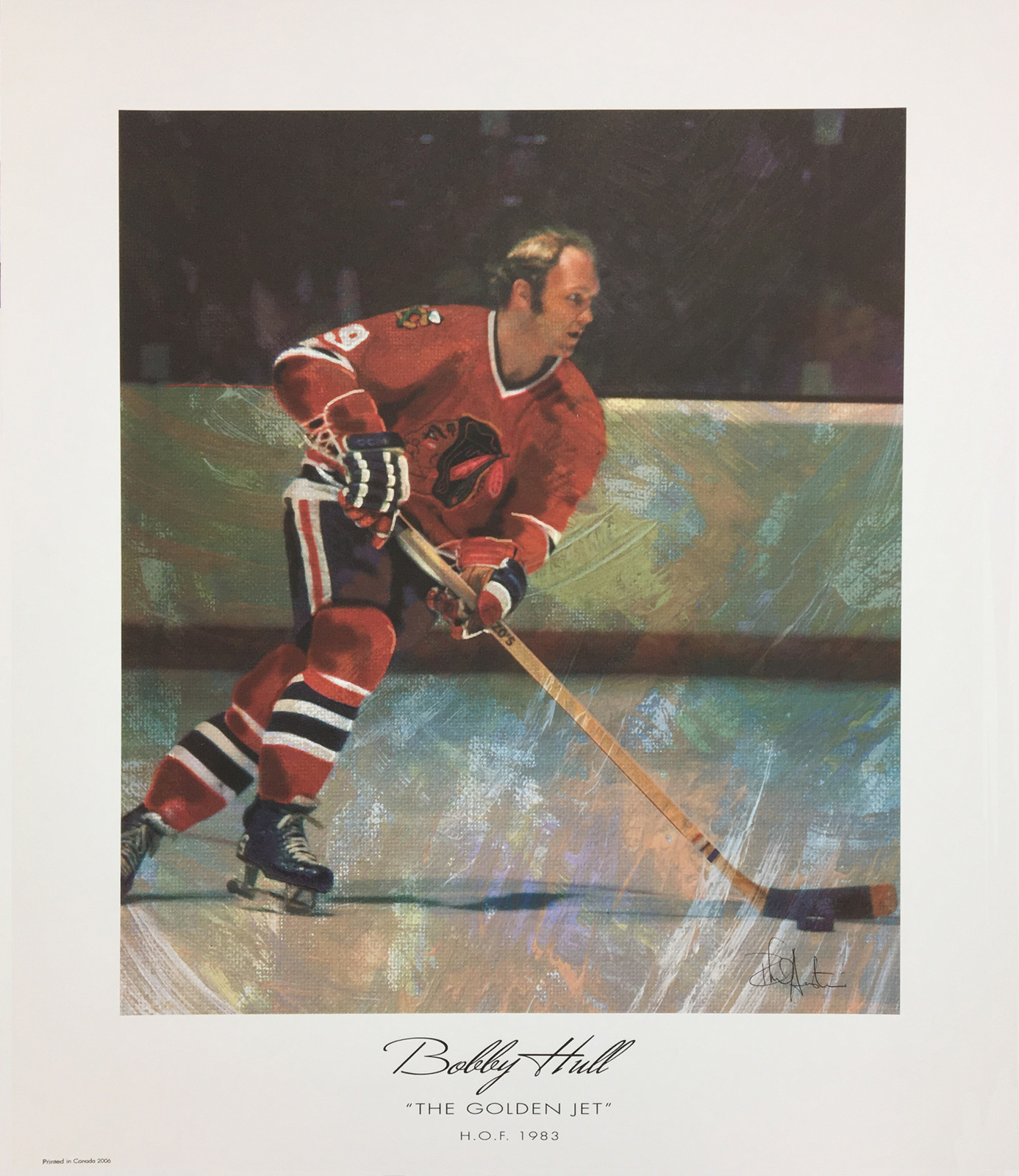 The Golden Jet Lithograph - Bobby Hull - Chicago Blackhawks image 1