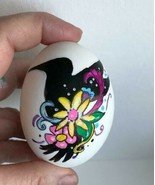 REAL Egg Handpainted Blown Egg Animal Silhouette w Floral decor Easter/ ... - $4.65