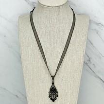 "1928 Gunmetal Tone Rhinestone Studded Chandelier Pendant Ribbon Necklace 18"" - $17.42"