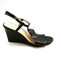 Cole Haan Womens Maddie Sandals Buckle Ankle Strap Wedge W13616 Black 10B  - $49.49