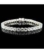 Oro Bianco Sopra Argento Sterling D/VVS1 Diamante Large 1 Fila Tennis Br... - $467.10