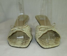 Stuart Weitzman Sandals Size 8.5 Slides Womens Beige Animal Print Leathe... - $24.74