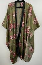 Torrid OS 1X 2X 3X Kimono Robe Satin Floral Green Long Wrap Womens B37-11 - $38.69