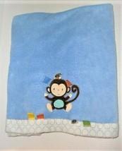 TaGgies Blue Monkey Plush Blanket White Trim with Blue Circles - $46.52