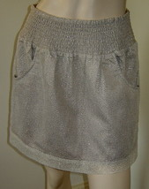 GAP Beige/Metallic Gold Mesh Overlay Short Gathered Skirt w/ Pockets (XS... - $19.50
