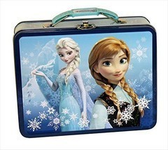 Disney Frozen Anna and Elsa Tin Lunch Box Carry Case Blue - $303,49 MXN