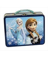 Disney Frozen Anna and Elsa Tin Lunch Box Carry Case Blue - $285,14 MXN