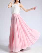 Pink MAXI CHIFFON SKIRT Women High Waisted Chiffon Maxi Skirt Plus Size image 5