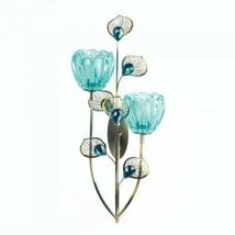 Peacock Blossom Dual Cup Wall Sconce Gift Candle Holder - $16.78