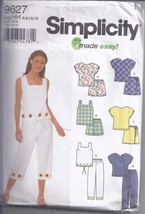 Simplicity Pattern 9627 from 2001. Misses Set of Tops, Pants, Shorts ot ... - $9.00