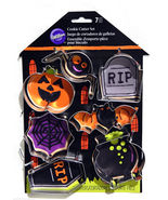 Wilton Halloween Cookie Cutters Metal 7 Pc Pumpkin Spider Web Bat Coffin... - $12.98