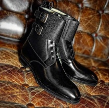 New Men Handmade Black Pebbled Leather Buckle Lace Up Ankle High Boots f... - $149.99+
