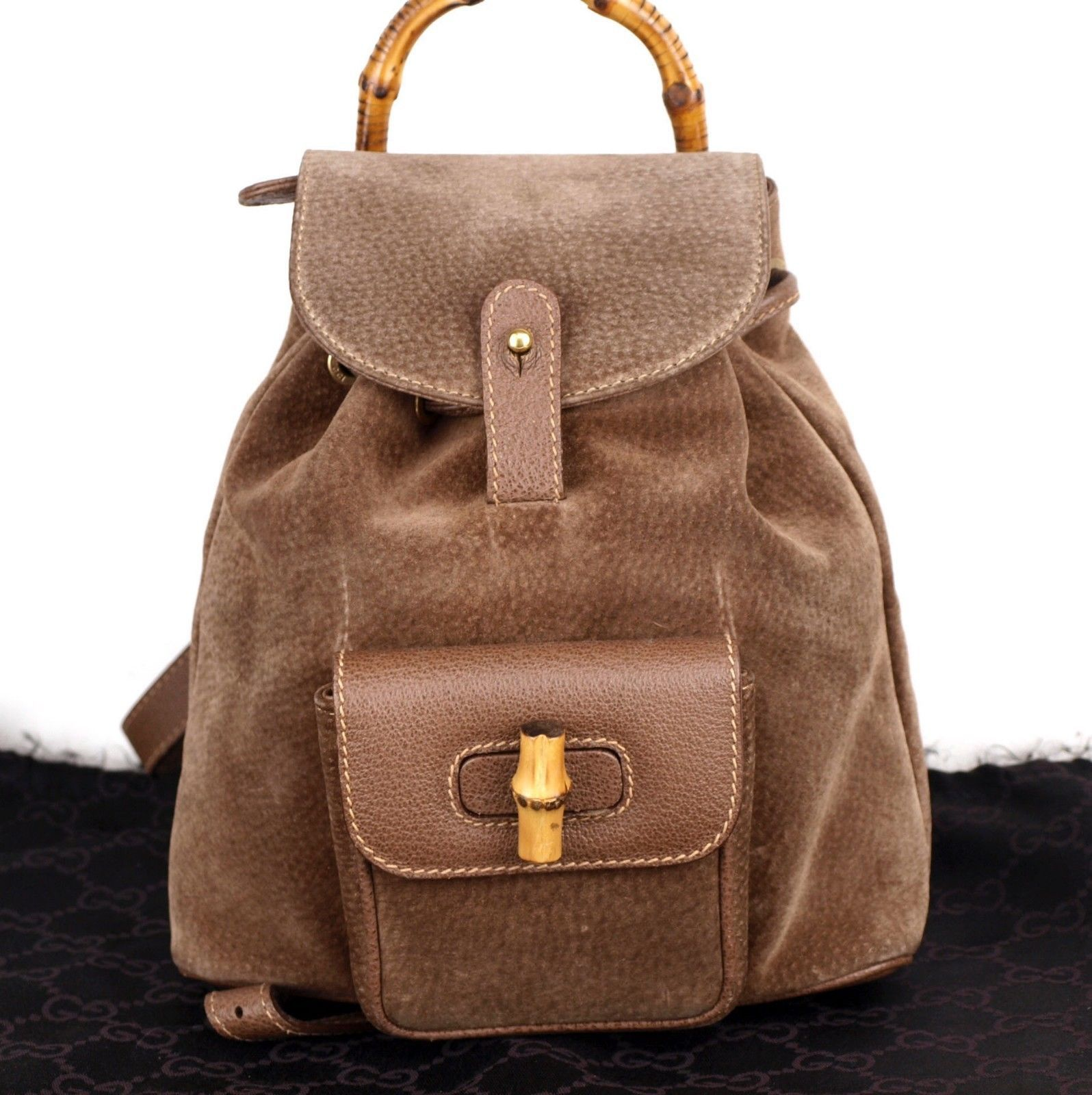 d805aa60426 57. 57. Previous. Authentic GUCCI Bamboo Brown Suede Leather Backpack Bag  Hand Bag Italy Vintage. Authentic ...