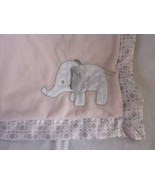 Wendy Bellissimo Pink Gray Elephant Baby Blanket 30 X 40 satin trim - $39.15