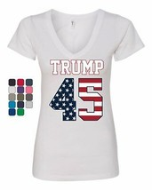 Trump 45 Women's V-Neck T-Shirt The 45th President Political Stars and S... - $15.87+