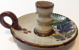 Art Pottery Candle Holder Signed - $16.82
