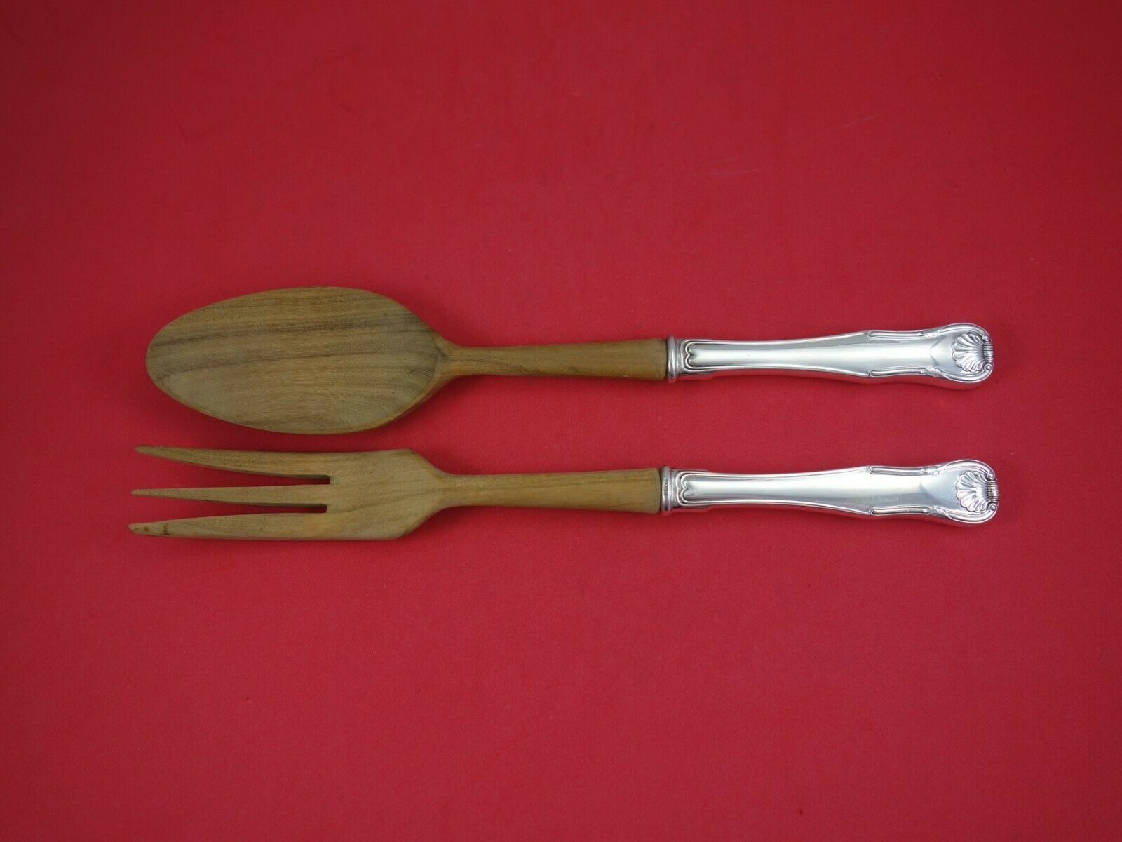 "King by Kirk Sterling Silver Salad Serving Set 2-Piece with Olive Wood 10 1/2"" - $109.00"