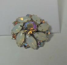 Vintage Opaque Rhinestone & Pink Aurora Borealis Pin Brooch - $17.81
