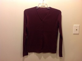 Ladies Maroon Textured Vertical Striped Button Up Cardigan