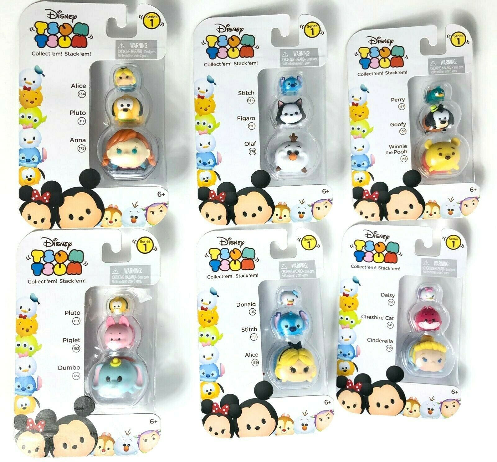 Lot Of 6 Disney Tsum Tsum 3 Pack Series 1 Mini Toy Figures - Gift for Kids
