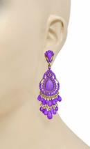 "3.25"" Long Bohemian Inspired Lavender Beads Classic Chandelier Earrings ... - $13.78"