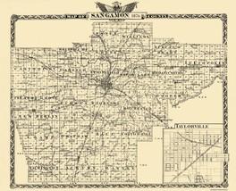 Sangamon County Illinois  - Warner 1876 - 28.44 x 23 - $36.58+