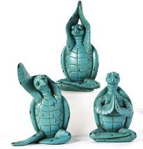 Set of 3 - Yoga Turtle Design Figurines - Green Poly Resin 3 Different Poses