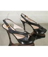 PRADA Black Leather Platform Sandals with Ankle Strap - Size 38.5 - $199.99