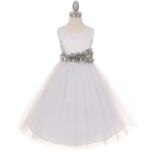 White Satin Bodice Layers Tulle Skirt Silver Petal Ribbon Sash Flower Gi... - $42.99+