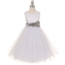 White Satin Bodice Layers Tulle Skirt Silver Petal Ribbon Sash Flower Girl Dress - $42.99+