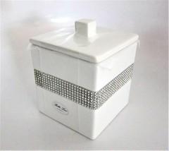 Bella Lux White Ceramic Silver Crystal Rhinestones Lidded Cotton Jar Can... - $31.18